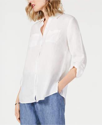 Charter Club Petite Linen Button-Front Shirt