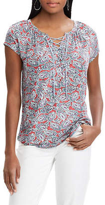 Chaps Petite Paisley Lace-Up Jersey Top