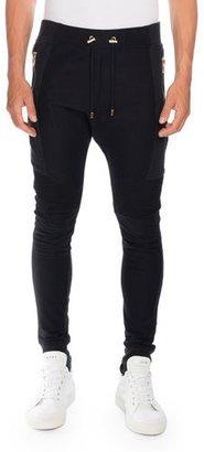 Balmain Moto-Style Jogger Pants, Black $728 thestylecure.com