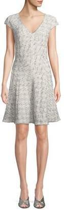 Rebecca Taylor V-Neck Sleeveless Speckled Tweed A-Line Dress