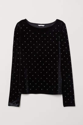 H&M Velour Top with Rhinestones - Black