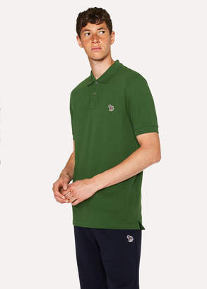 Paul Smith Men's Forest Green Organic Cotton-Pique Zebra Logo Polo Shirt