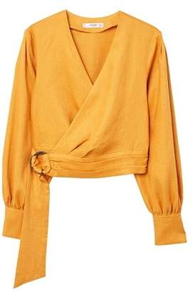 MANGO Linen wrap blouse
