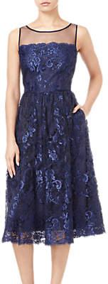 Adrianna Papell Sleeveless Tea Length Dress, Navy