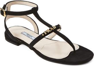 Prada Black T-Strap Flat Suede Sandals