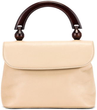 BY FAR Fiona Leather Top Handle Bag in Ivory | FWRD