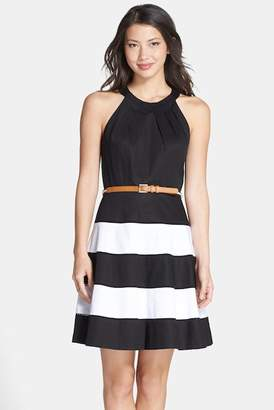 Eliza J Stripe Skirt Fit & Flare Dress