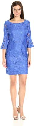 Sandra Darren Women's 1 Pc 3/4 Lace Exaggerated Sleeve Sheath Dress