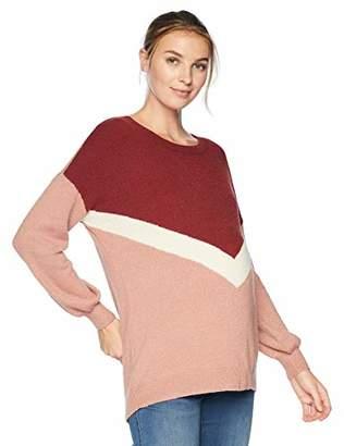 Motherhood Maternity Women's Maternity Long Sleeve Crew Neck Varsity Sweater