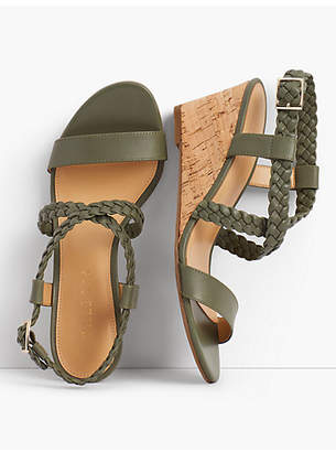 Talbots Royce Braided Leather Cork-Wedge Sandals
