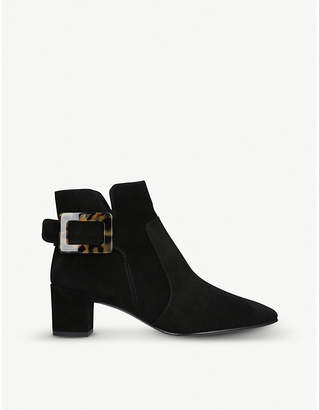 Roger Vivier Polly tortoiseshell-buckle suede ankle boots