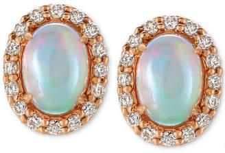 LeVian Le Vian Opal (3/4 ct. t.w.) and Diamond (1/4 ct. t.w.) Stud Earrings in 14k Rose Gold
