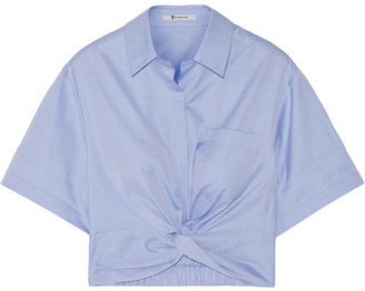 T by Alexander Wang - Cropped Knotted Cotton-twill Shirt - Blue $250 thestylecure.com