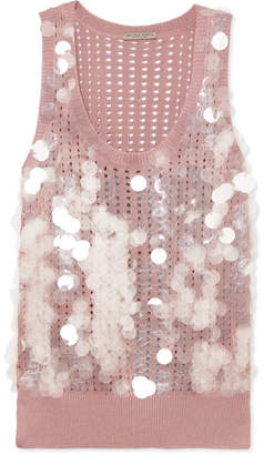 Bottega Veneta Paillette-embellished Open-knit Silk Tank - Antique rose