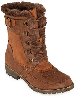 POP Womens Twill Lace Up Boots Block Heel