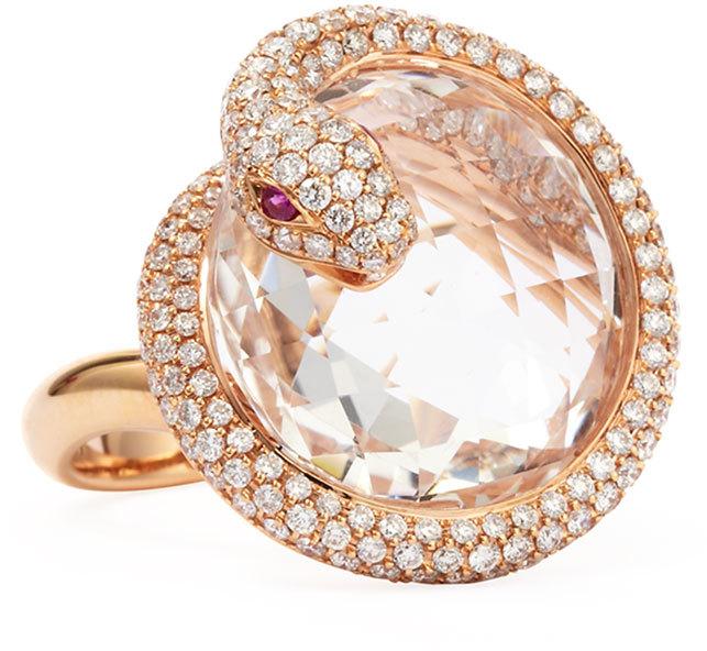 Roberto Coin 18k Rose Gold Diamond Snake Ring