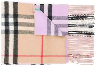 Burberry Long Reversible Check Double-faced Cashmere Scarf