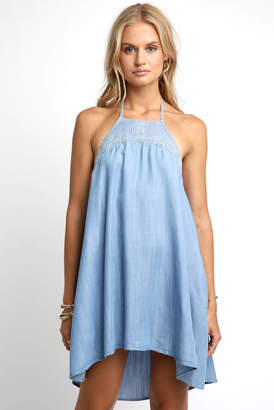 Velvet Heart Halter Embroidered Denim Swing Dress