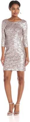 Minuet Women's Long Sleeve Brocade Metallic Fitted