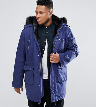 489157f60c Asos Design PLUS Heavyweight Parka With Faux Fur Lining In Blue