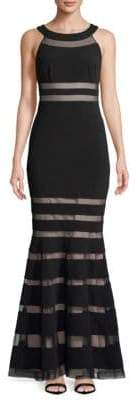 JS Collections Sheer Striped Floor-Length Gown