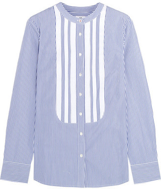 J.Crew - + Thomas Mason Grosgrain-trimmed Striped Cotton-poplin Shirt - Blue $140 thestylecure.com