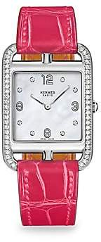 Mother of Pearl HERMÃS Cape Cod Diamond, Mother-Of-Pearl & Leather Strap Watch