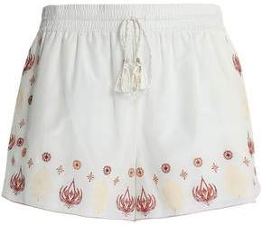Rachel Zoe Embroidered Cotton And Silk-Blend Shorts