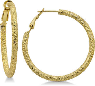 Essentials Medium Textured Hoop Earrings in Gold-Plate