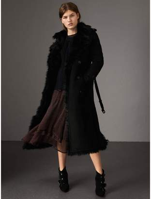 Burberry Shearling Long Trench Coat