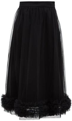 Molly Goddard Leonie Ruffled Tulle Midi Skirt - Womens - Black