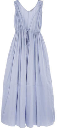 Three Graces London - Clemenza Gathered Cotton-voile Nightdress - Sky blue