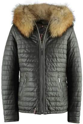 Oakwood Happy Khaki Leather Fur Trim Hooded Jacket
