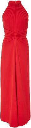 Brandon Maxwell Pleated Textured-Crepe Halter Midi Dress