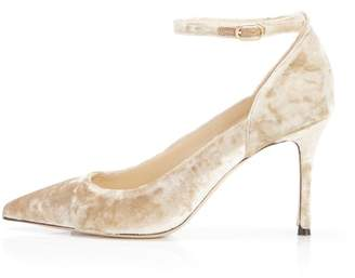 Marion Parke Muse | Velvet Stiletto Pump With Ankle Strap