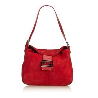 Fendi Burgundy Suede Handbag