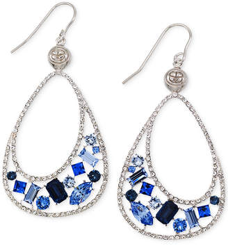 clear Simone I. Smith Blue and Crystal Teardrop Earrings in Platinum over Sterling Silver