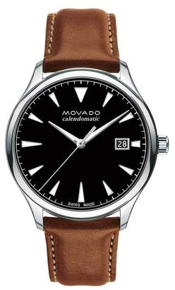 Movado Heritage Leather Strap Watch, 40mm