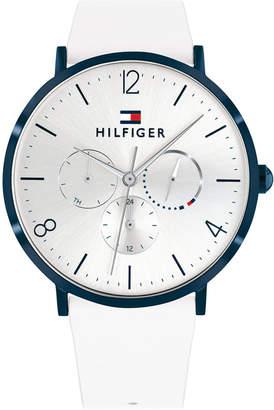 Tommy Hilfiger Women White Leather Strap Watch 40mm