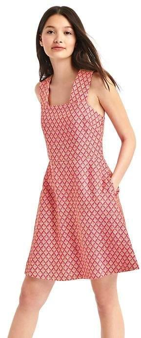 GapMix print sleeveless drawstring dress