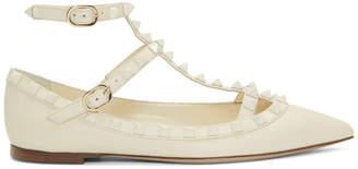Valentino White Garavani Rockstud Ballerina Flats