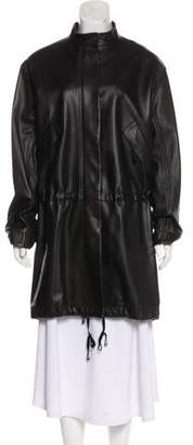 Helmut Lang Leather Knee-Length Coat