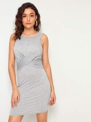 598e4c94c8ee6 Shein Cross Wrap Front Heathered Grey Tank Dress