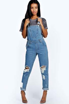 boohoo Indigo Stone Wash Denim Dungaree