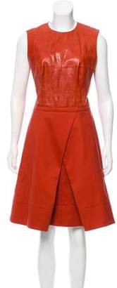 Kaufman Franco KAUFMANFRANCO Leather-Paneled Wool Dress