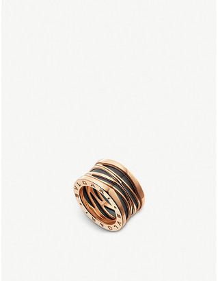 Bvlgari B.zero1 Design Legend four-band 18ct rose-gold and black ceramic ring