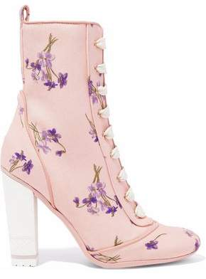 RED Valentino Lace-Up Floral-Print Canvas Ankle Boots