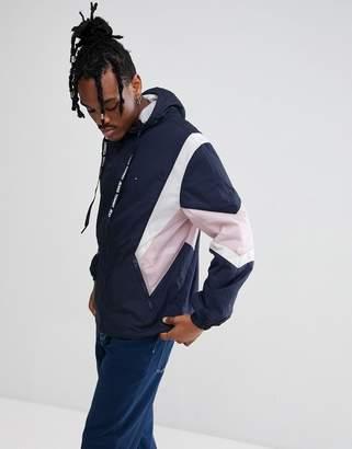 Tommy Jeans Drop Shoulder Full Zip Hooded Shell Jacket Geometric Blocking in Navy