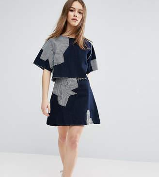 WÅVEN Petite Contrast Patchwork Skirt
