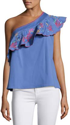 Saloni Esme One-Shoulder Embroidered Top, Blue